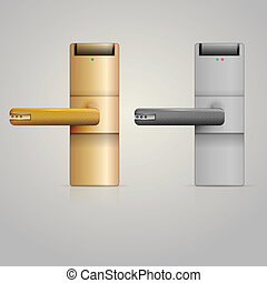 låsa, illustration, dörrvred