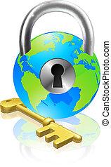 låsa, klot, nyckel