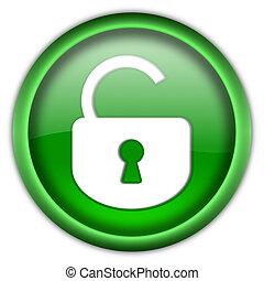 låsa, knapp, öppna