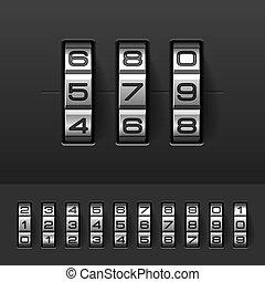 låsa, kodex, numrerar, kombination