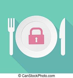 låsa, länge, bordsservis, vaddera, illustration, stängd, ...
