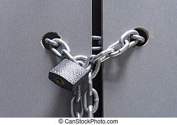 låsa, med, a, kedja, på, den, dörr