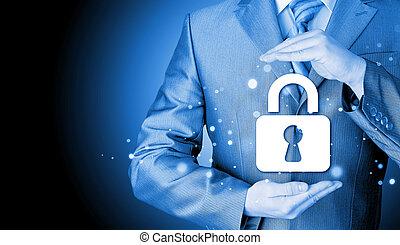 låsa, säkerhet, affärsman, skydda, begrepp