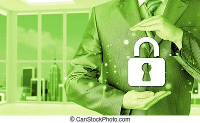 låsa, säkerhet, begrepp, skydda, affärsman