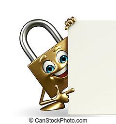 låsa, tecken, underteckna