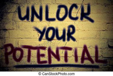 låsa upp, din, möjlig, begrepp