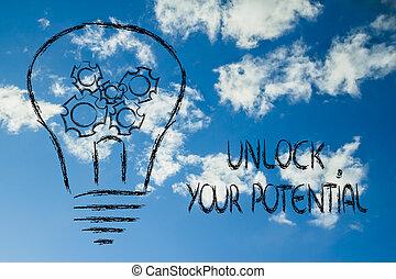 låsa upp, din, möjlig, lightbulb, med, gearwheels