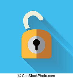 låsa upp, färgrik, ikon, design, lägenhet
