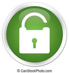 låsa upp, grön, knapp, ikon