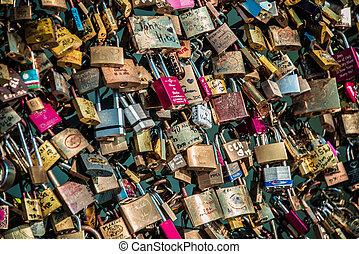 låser, i, constitutions, hos, paris, bro