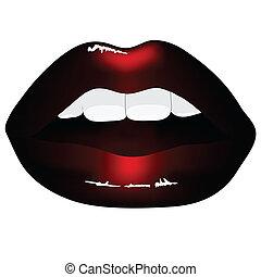læber, sort, isoleret, baggrund, rød