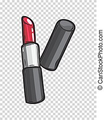 læbestift, klassisk, isoleret, illustration, blanke, rød