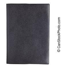 læder, afdækket, isoleret, bog, sort baggrund, hvid