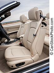læder, chauffør, sæder, ind, luksus, sportscar
