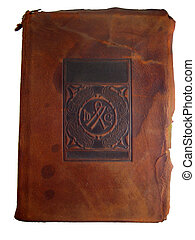 læder, gamle, bog bedækk
