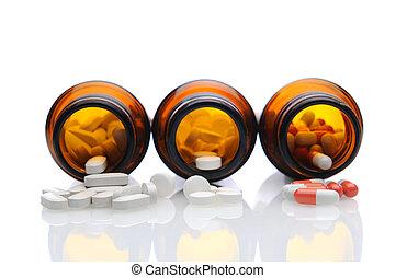 lægekunst flaske, hos, pillerne, spilling, ydre