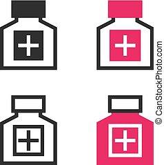 lægekunst flaske, iconerne