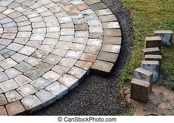 lægge, patio, mursten
