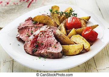 lækker, saftige, sjælden, oksekød bøf