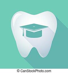 længe, tand, skygge, examen, ikon, cap