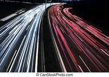 længe, tid, eksponering, i, trafik, automobilen, lys, ind, den, autostradaen