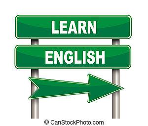 lær, engelsk, grønne, vej underskriv