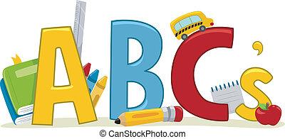 lærdom, alfabeter.
