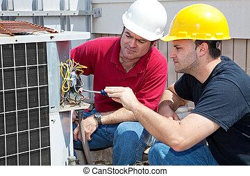 lærdom, luft konditioning, reparer