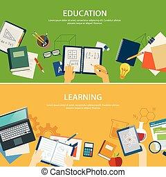 lærdom, skabelon, banner, konstruktion, undervisning, lejlighed