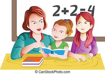 lærer, og, student, ind, den, klasseværelse