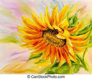 lærredet, solsikke, maleri, olie