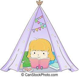 læs, pige, bog, barnet, glamping