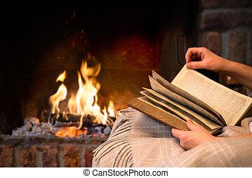 læsning bog, af, kamin