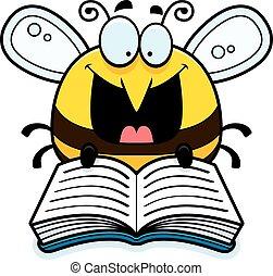 læsning, cartoon, bi