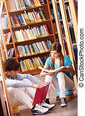 læsning, ind, bibliotek