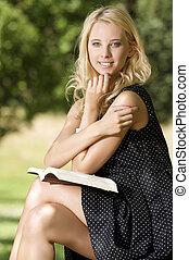 læsning, kvinde, bog, unge