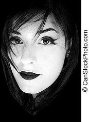 lèvres, cils, entouré, eyeliner, long, caucasien, cheveux, noir, portrait, girl, blanc
