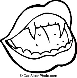 lèvres, dessin animé, vampire