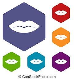 lèvres, ensemble, femme, icônes