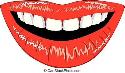 lèvres, femme, dents