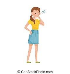 lèvres, femme, doigt, marque, elle, vecteur, question, illustration, pensif, debout