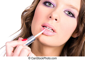 lèvres, femme, maquillage