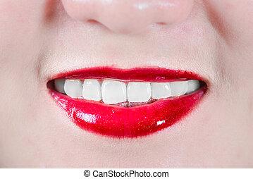 lèvres, femme souriant, maquillage