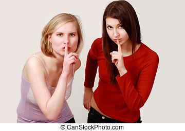lèvres, filles, doigt