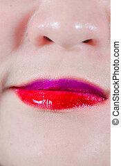 lèvres, maquillage, smirk, femme