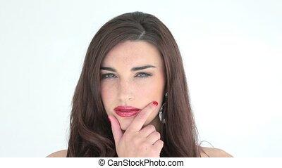 lèvres, regarder, pensée, femme, rouges