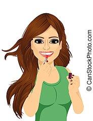 lèvres, rose, application rouge lèvres, femme
