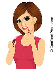 lèvres roses, femme, application rouge lèvres