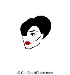 lèvres rouges, femme