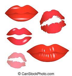 lèvres, vecteur, -, femme, collection